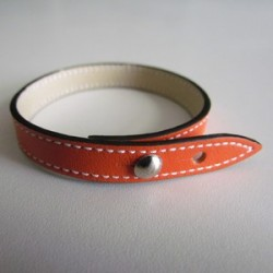 Orange Single Wrap Leather Strap