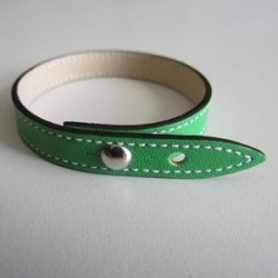 Apple-Green Single Wrap Leather Strap