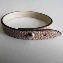 Beige Single Wrap Kidskin Leather Strap