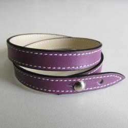 Purple Double Wrap Leather Strap