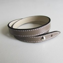 Taupe Double Wrap Leather Strap