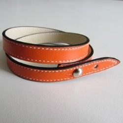 Orange Double Wrap Leather Strap