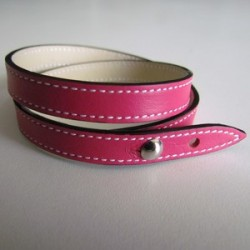 Pink Double Wrap Leather Strap