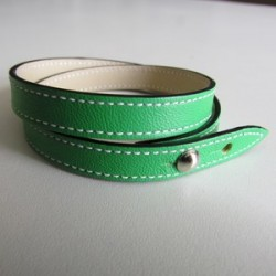 Apple-Green Double Wrap Leather Strap