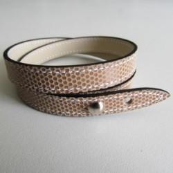 Beige Double Wrap Kidskin Leather Strap