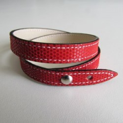 Red Double Wrap Kidskin Leather Strap