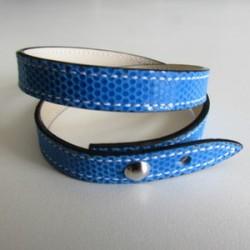 Blue Double Wrap Kidskin Leather Strap