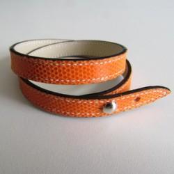 Orange Double Wrap Kidskin Leather Strap