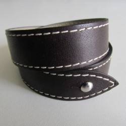 Brown Double Wrap Leather Strap For Men