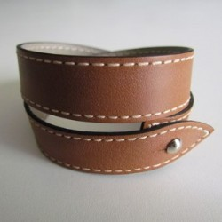 Gold Double Wrap Leather Strap For Men